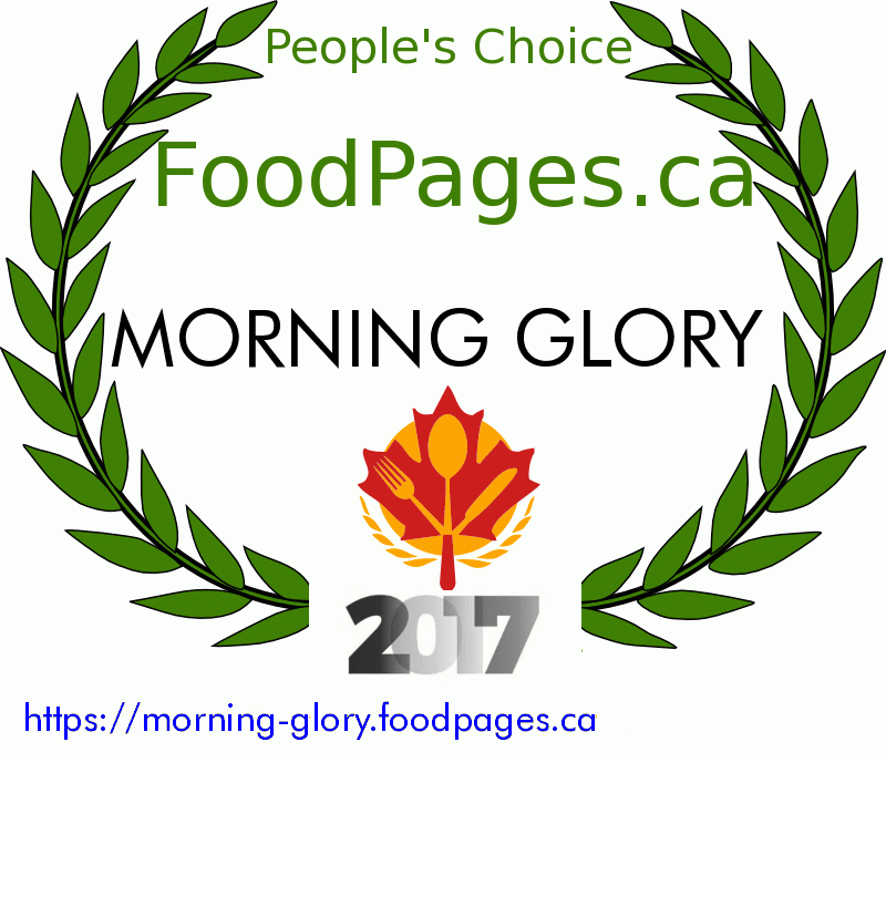 MORNING GLORY FoodPages.ca 2017 Award Winner